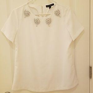 White jeweled blouse